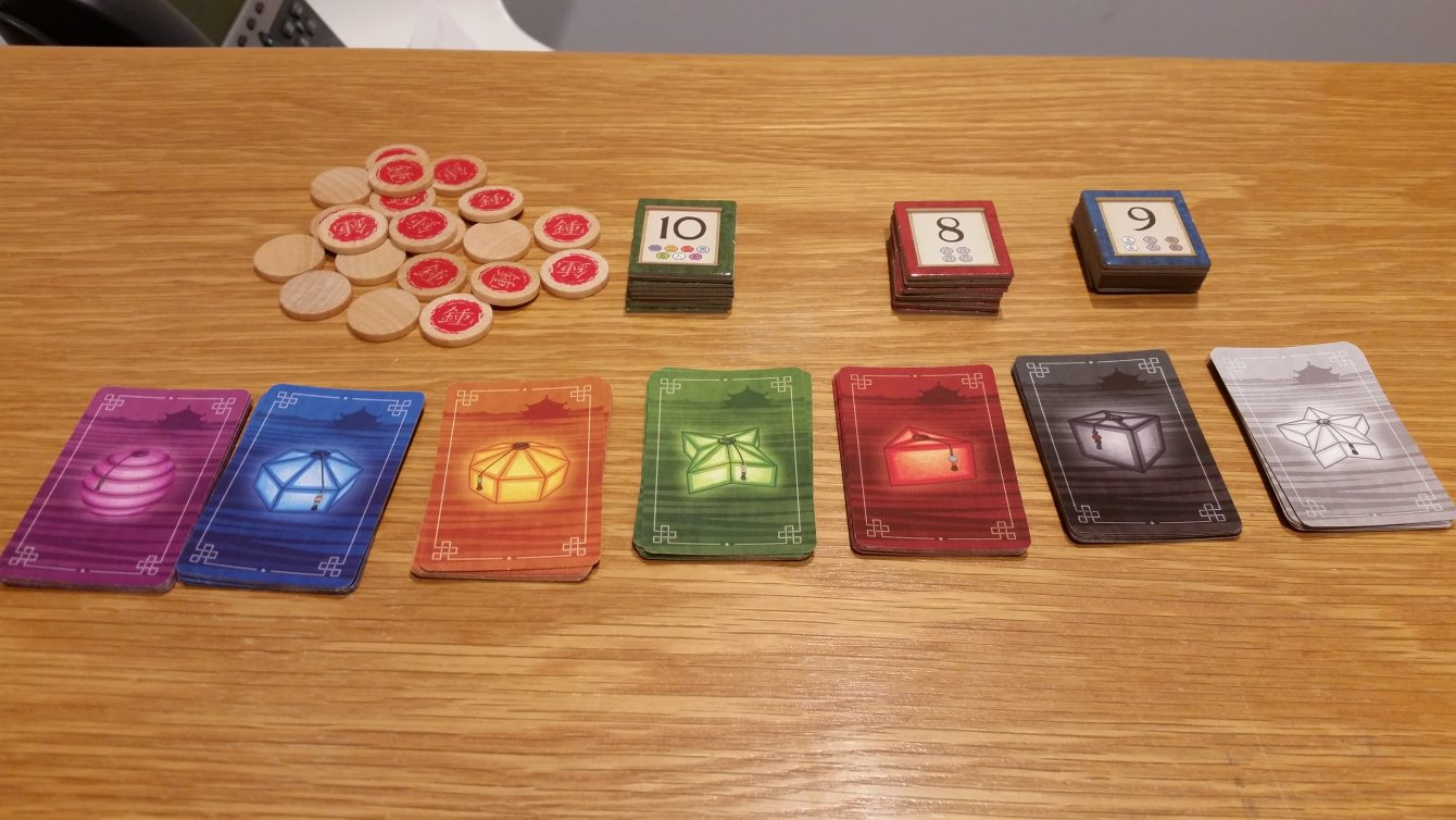 Lantern cards, Dedication tiles, and Favor tokens, all set and ready to go