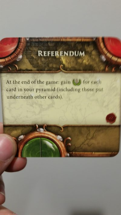The much maligned Referendum card. It's easy to play and guarantees a big point swing for whomever lucks into drawing it.