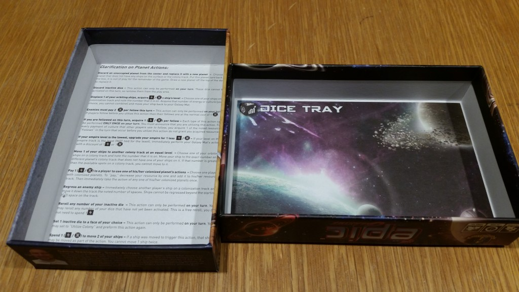It's the little things that make Gamelyn Games awesome - the inside of the box doubles as dice tray/cheat sheet
