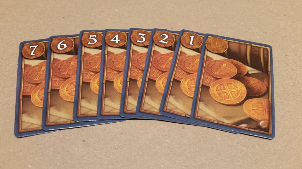 Auction cards. Each player gets the same spread, but each card can only be used once per auction