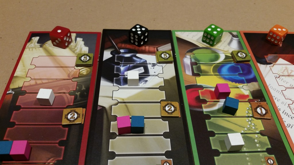 Mid-game, those value dice have been moved quite a bit. White must be annoyed