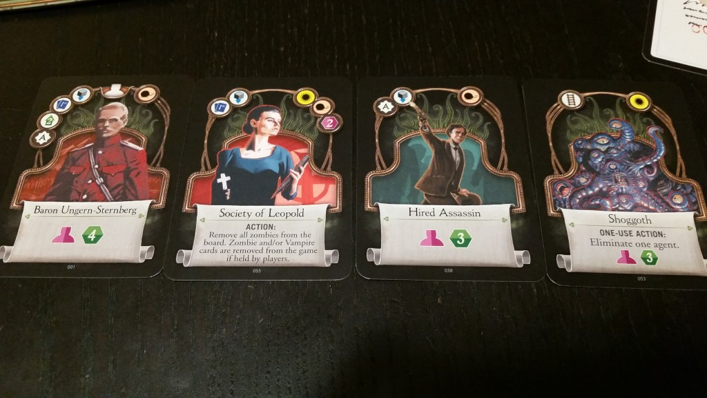 Some of the character cards which can be acquired over the course of the game.