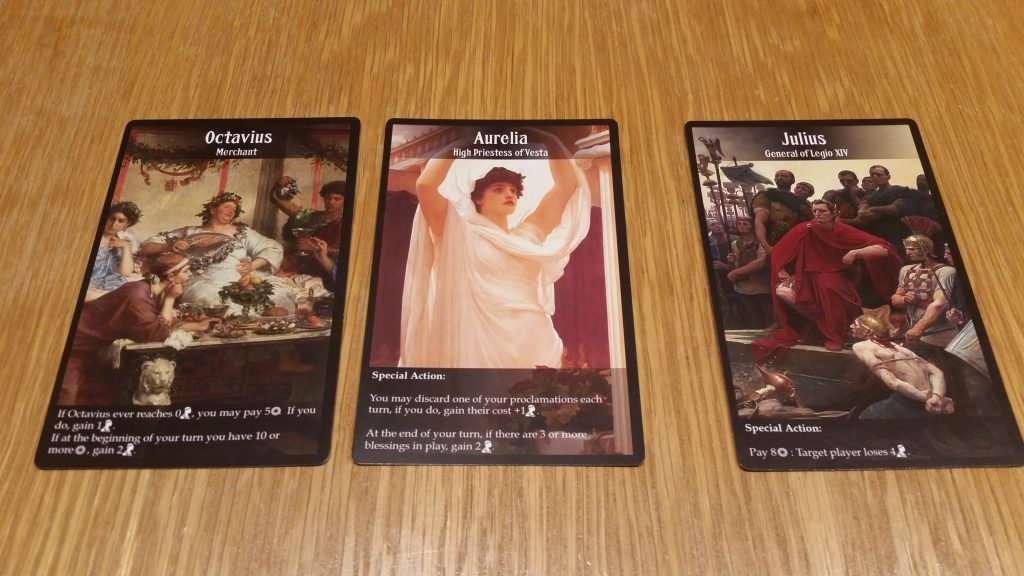 A couple of character cards, including Julius, whose special power is 'being a jerk'.
