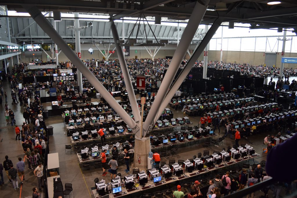 The back half of the convention, beyond the triple-A video game wall. See that massive crowd in the back? That's the tabletop section!
