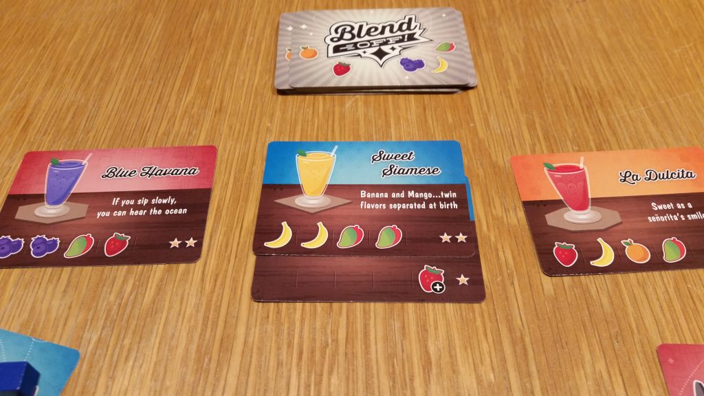Some of the smoothie cards, including one that requires extra Strawberry.