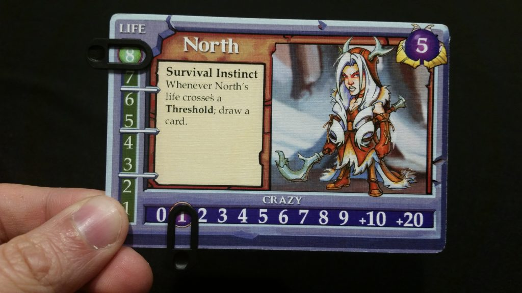 North, one of the new Shepherds of Woe, gets hand advantage as she takes damage.