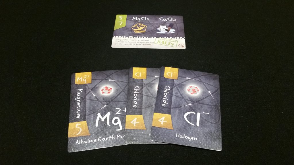 By combining a Magnesium (2+) with 2 Chlorides (-), I get a balanced Magnesium Dichloride ion. It's worth 13 points (the value of all 3 component cards) as well as some bonus points this round, due to the 'Alkaline Earth Salts' goal card.