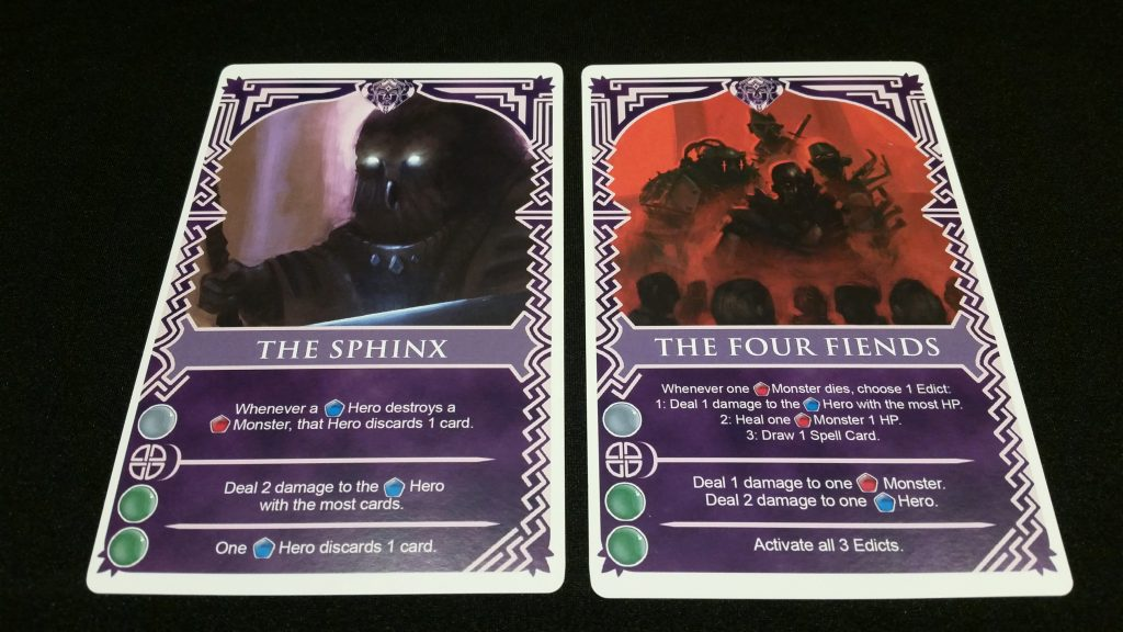The Four Fiends attack heroes in a multitude of ways, whereas the Sphinx forces heroes to throw valuable cards away. Disappointingly, the Sphinx cannot cut guns in half with his mind...Mystery Men reference? Just me? Ok then.