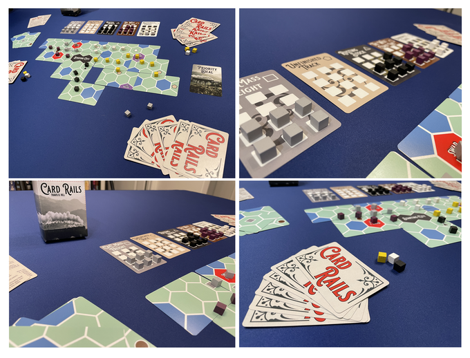Physical game components from various angles