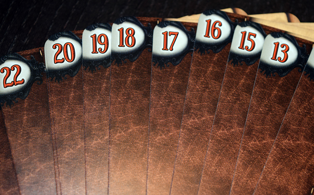 Backs of cards displaying numerical order
